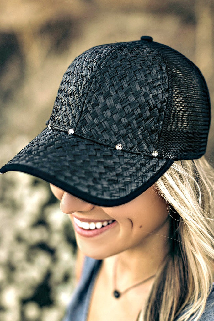 Straw and Mesh Baseball Hat - Glitzy Bella