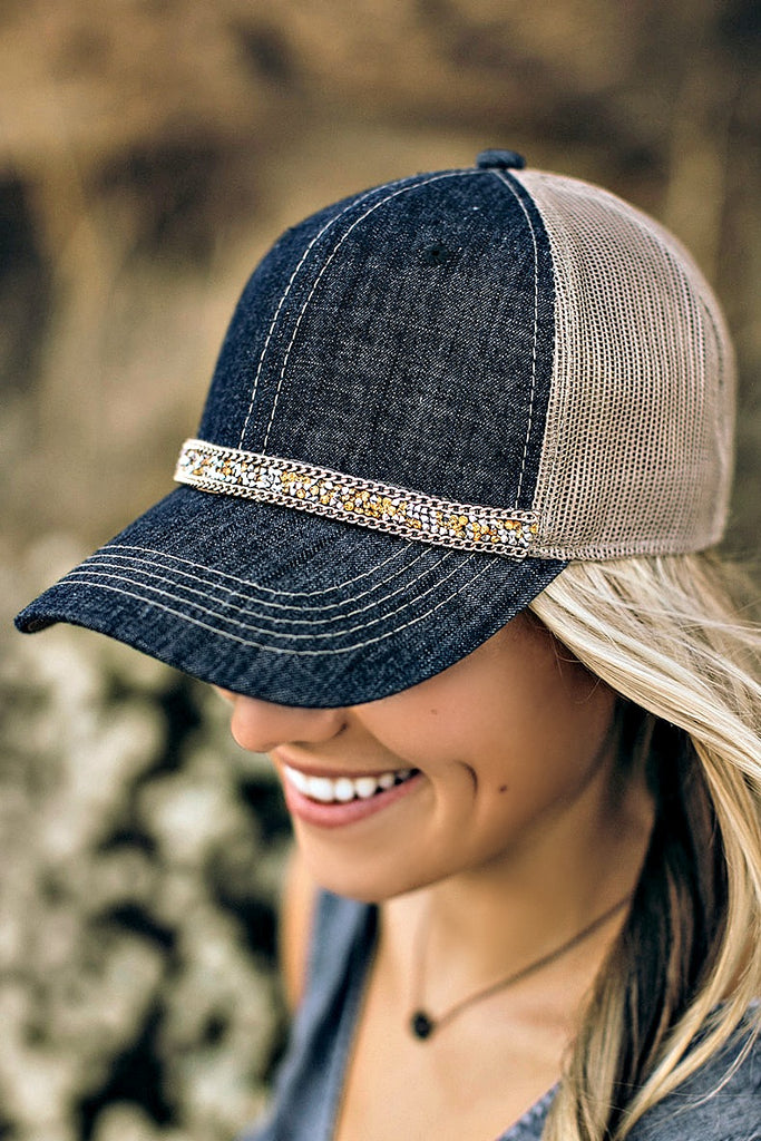 Mixed Metal Denim Ball Cap - Glitzy Bella