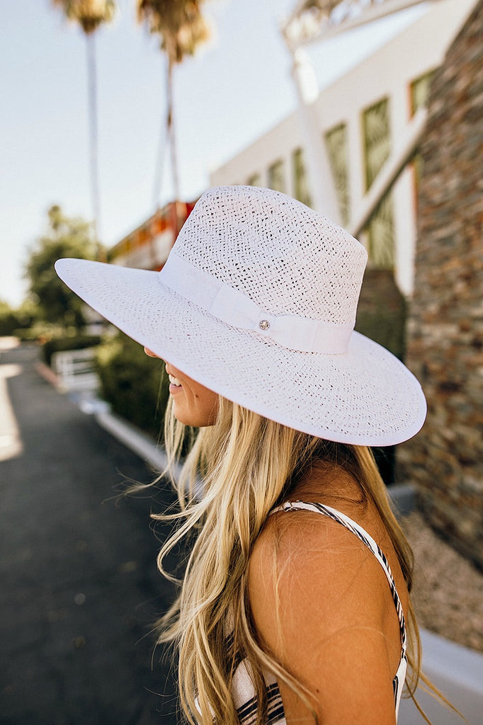 The Palm Desert Straw Panama in White - Glitzy Bella