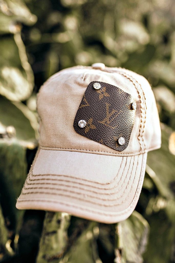 Authentic Re-purposed LV Patch Hat with Swarovski Crystals