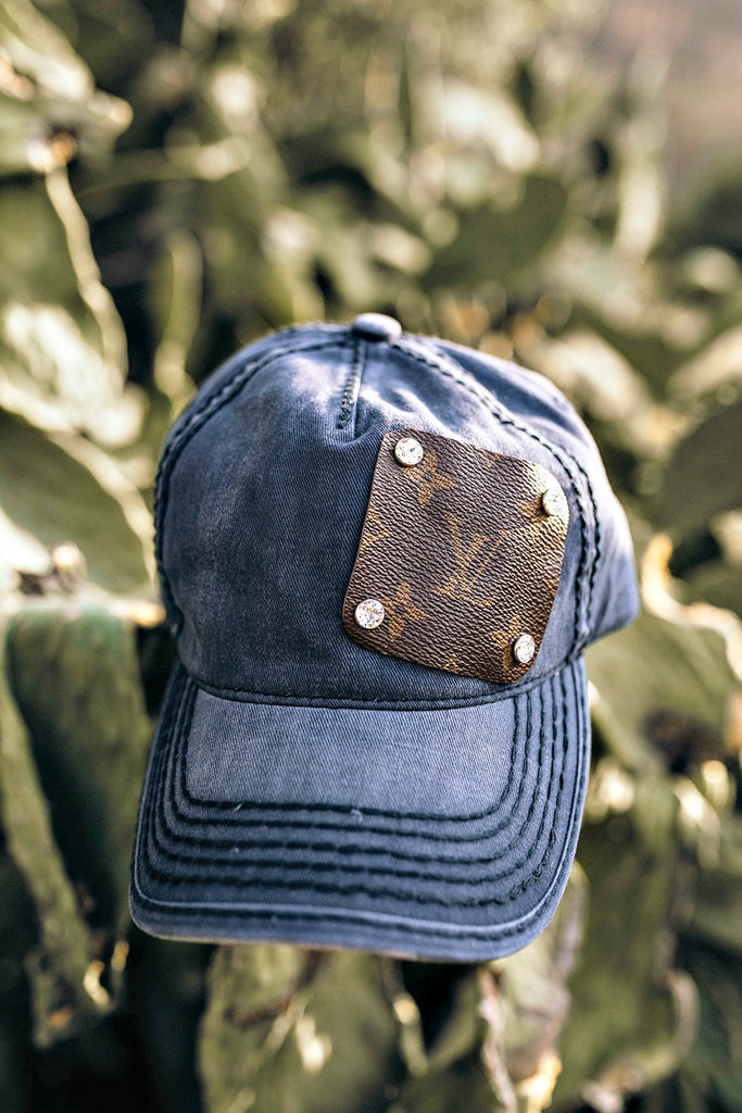 Authentic Re-purposed LV Patch Hats with Swarovski Crystals
