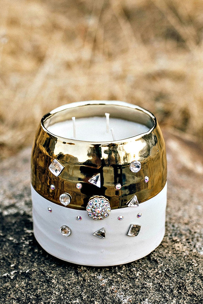 Large White & Gold Ceramic Hand Poured Soy Candle w/ Swarovski Crystals