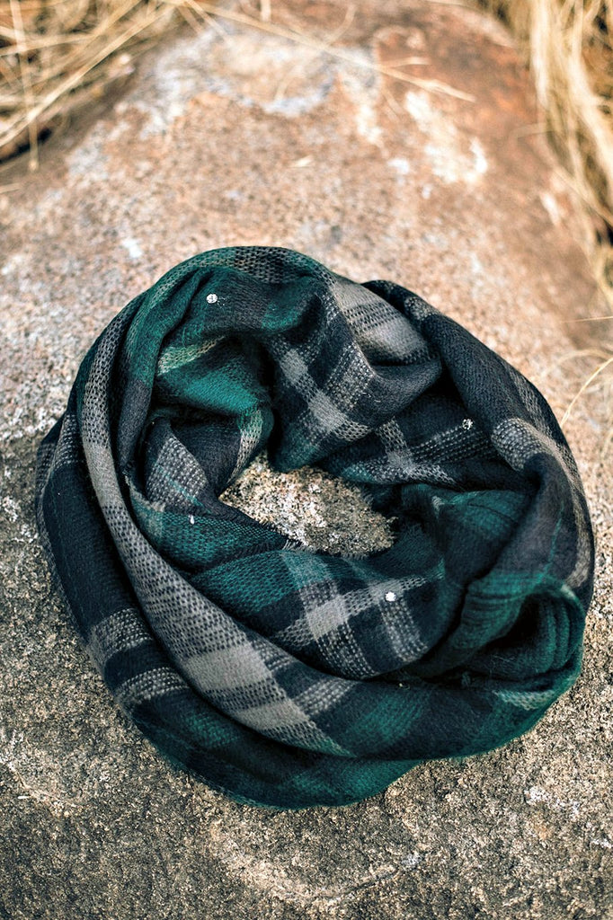 Knit Plaid Infinity Scarf