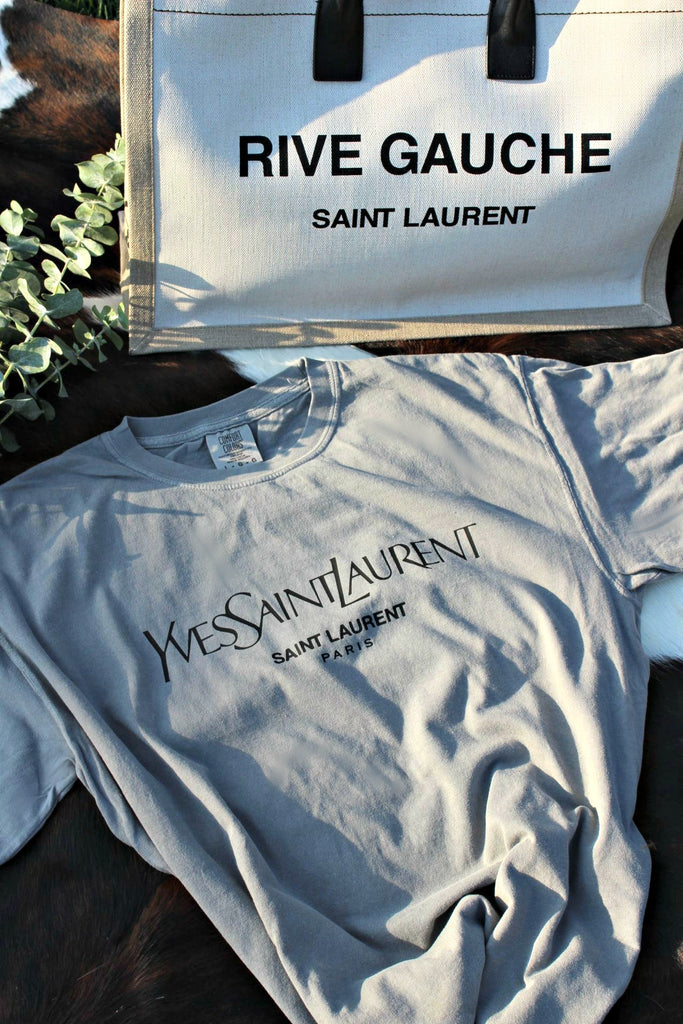 "GLITZY BELLA ORIGINAL: ""Designer Inspired"" Comfort Colors Tee in Grey"