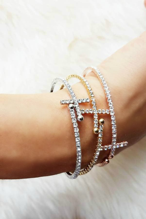 Cross Cuff Bracelet in 3 Colors - Glitzy Bella