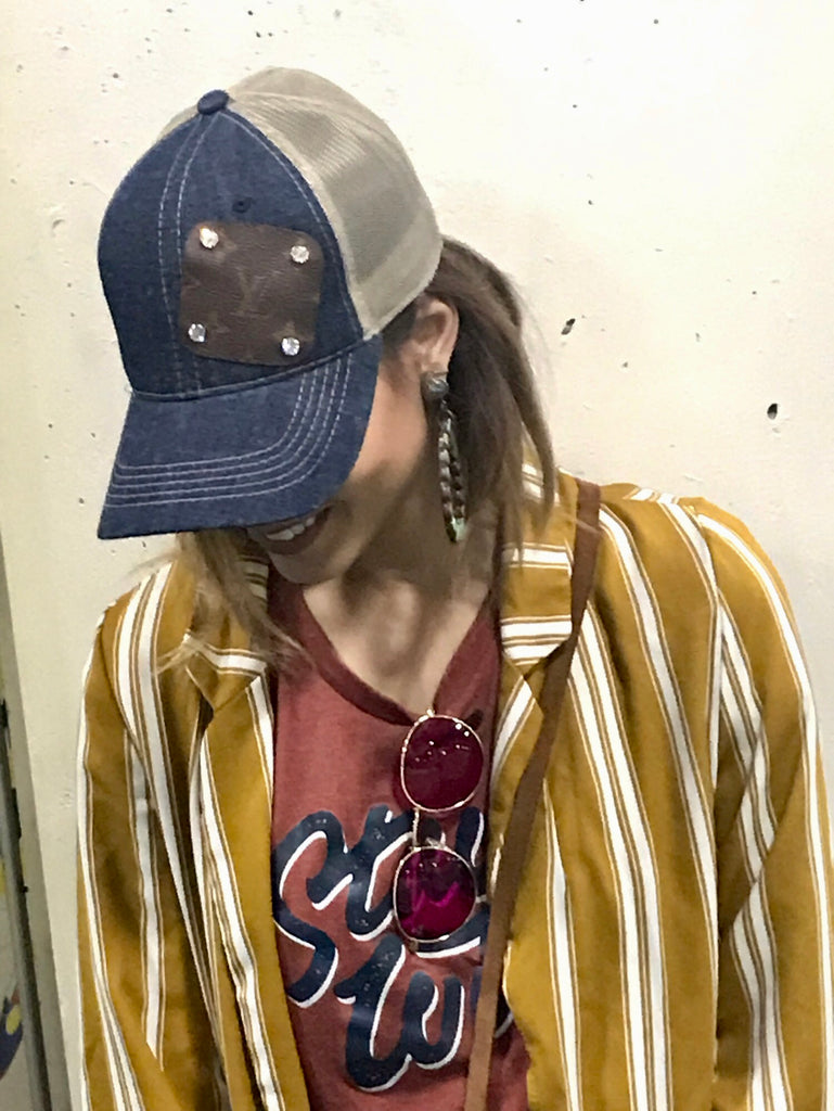 Authentic Re-purposed LV Patch Denim Hat with Swarovski Crystals
