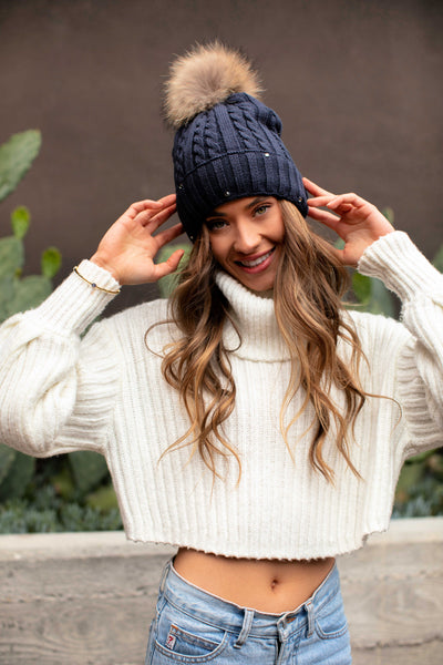Lined Cable Knit Beanie with Pom Pom