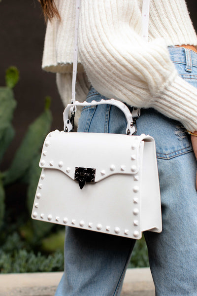 """The Hard Rock"" White Studded Midi Bag"