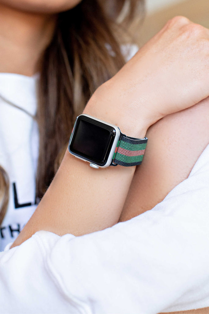 """Designer Inspired"" Stripe Mesh Apple Watch Band"