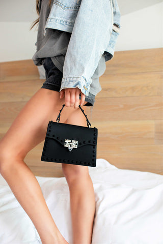 """The Hard Rock"" Black Studded Mini Bag"