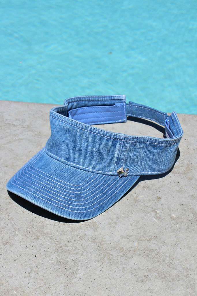NEW! Washed Denim Visor