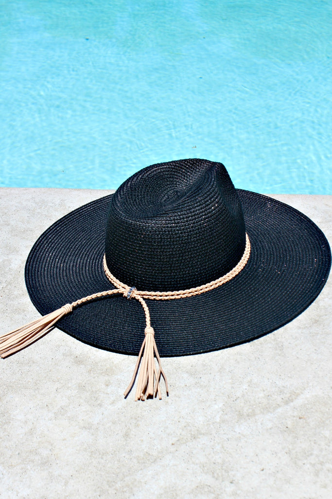 The Parker Braided Tassel Hat in Black - Out of Stock
