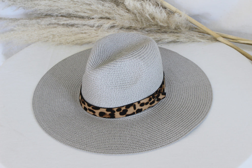 The Parker Grey Leopard Banded Panama