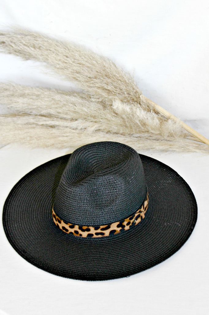 The Parker Leopard Banded Panama Hat in 3 Colors - Glitzy Bella