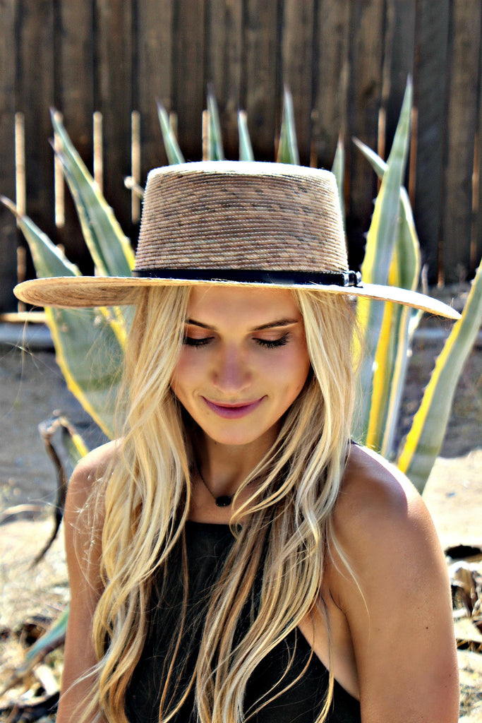 Handmade Palm Leaf Boater Hat - Glitzy Bella