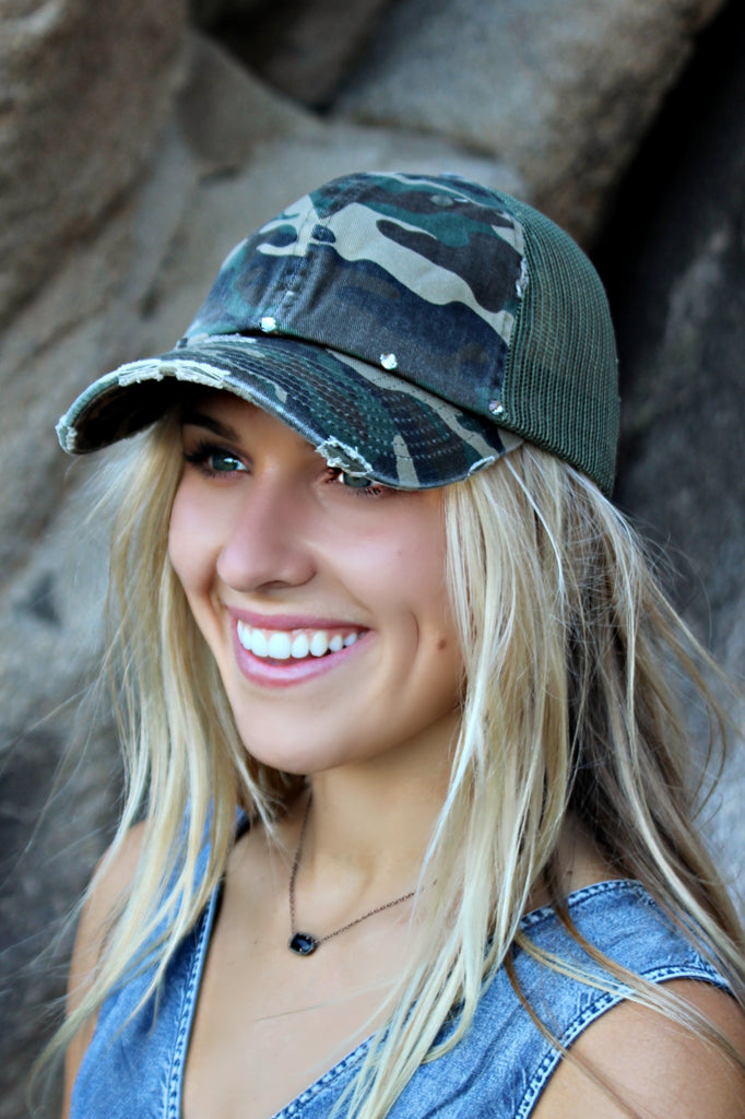 Camouflage Vintage Distressed Ball Cap - Glitzy Bella