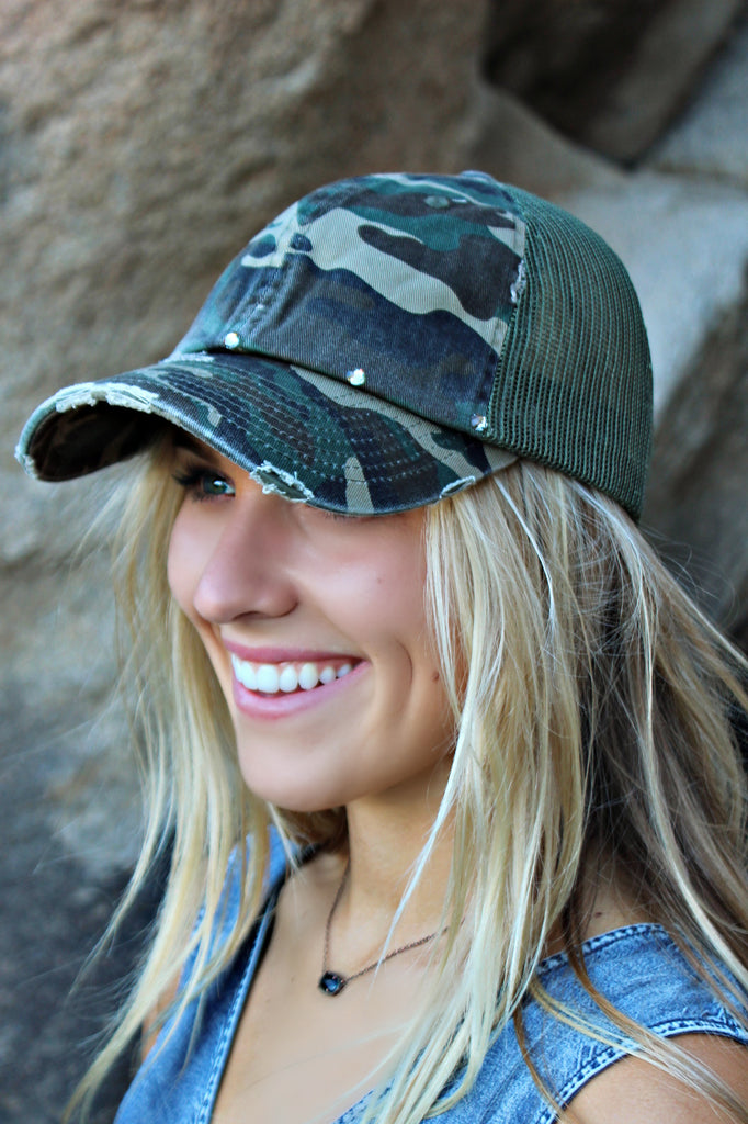Camouflage Vintage Distressed Ball Cap
