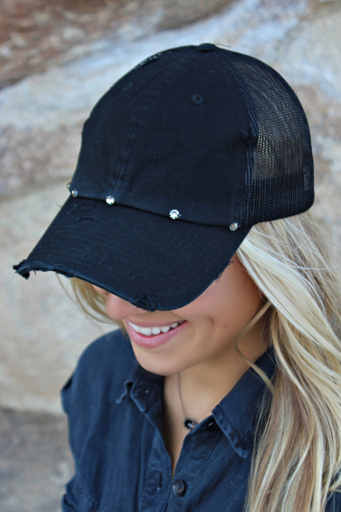 Vintage Distressed Black Ball Cap