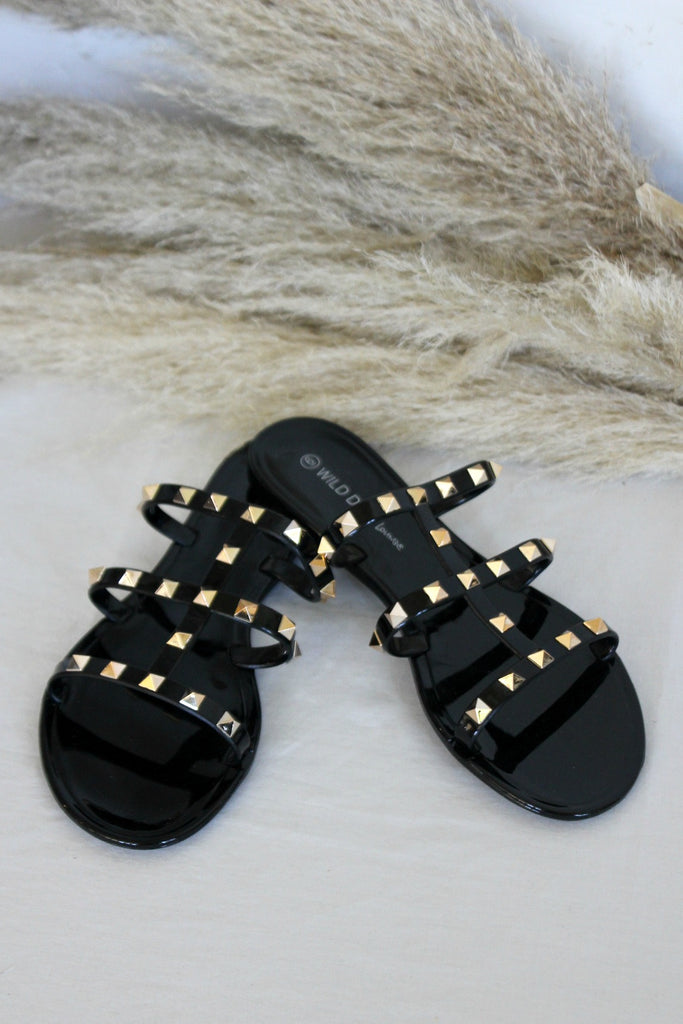 Black Gladiator Gold Studded Sandal - Glitzy Bella