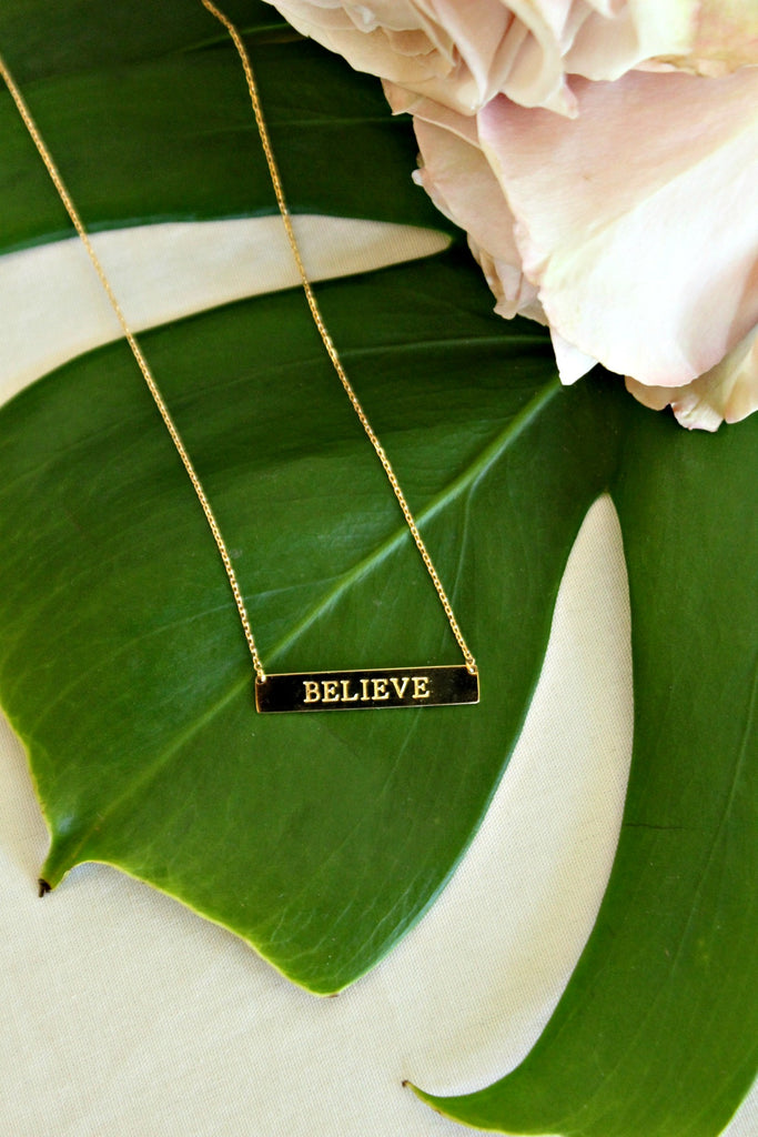 'Believe' Bar Necklace