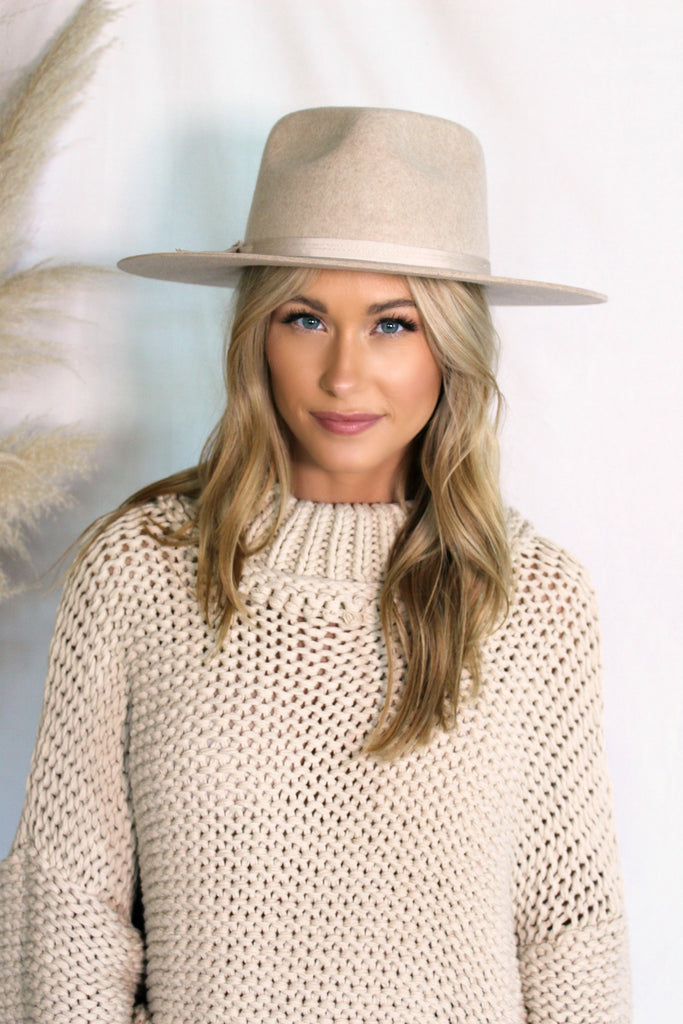 NEW!! The Kennedy Heathered Beige Wool Panama - Glitzy Bella