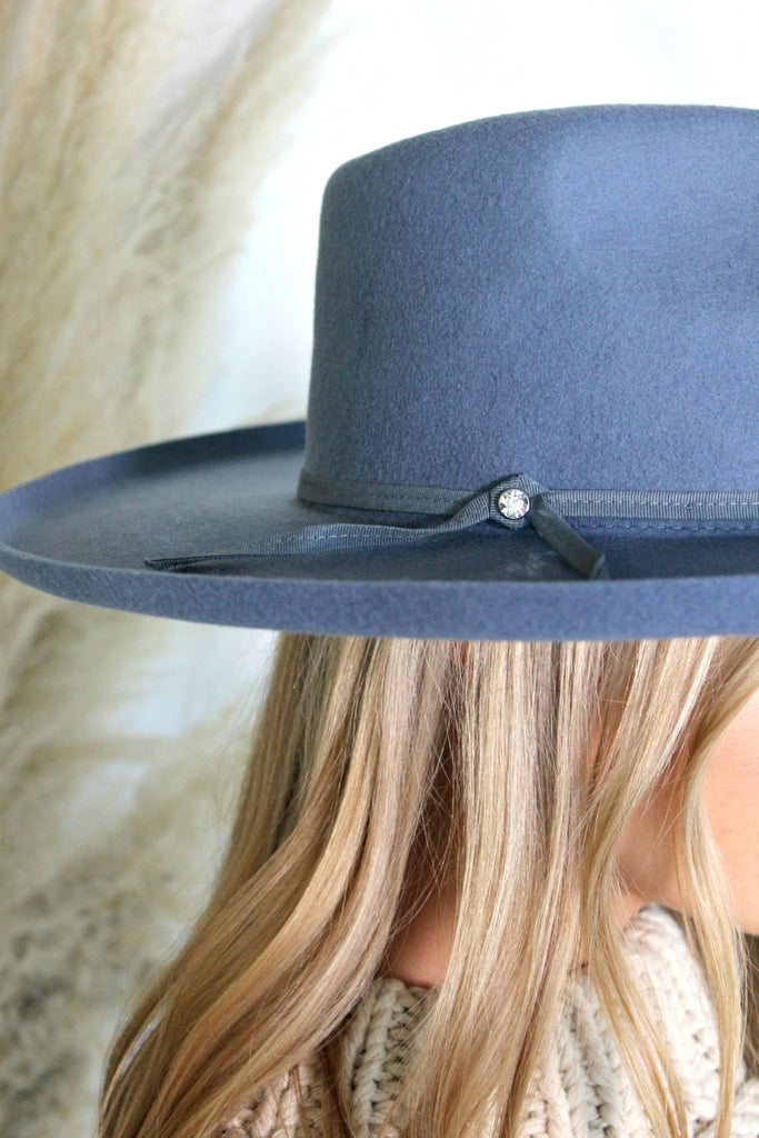 NEW! The Beverly Wool Panama in Blue - Glitzy Bella