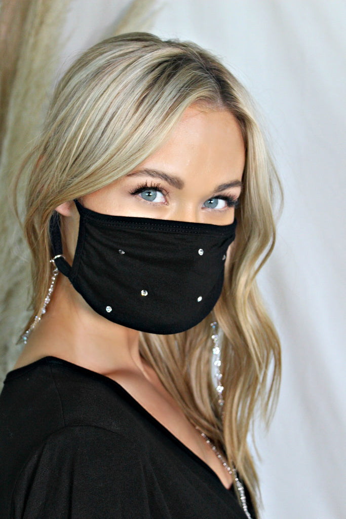 NEW! Crystal Face Mask Chain - Glitzy Bella