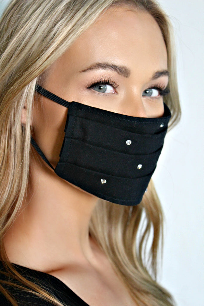 "NEW! ""Keep it Chic"" Black Face Mask w/ Filter"