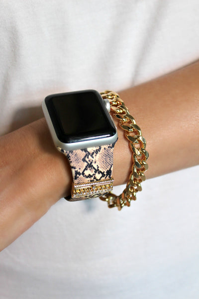 Snakeskin Embellished Silicon Apple Watch Band