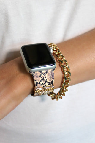 NEW!! Snakeskin Embellished Silicon Apple Watch Band - Glitzy Bella