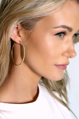 Gold Crystal Hoop Earrings - Glitzy Bella