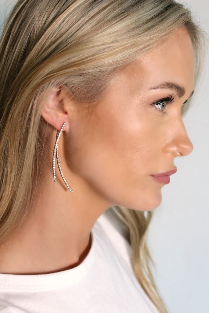 Forever Crystal Earring in Gold, Rose Gold & Silver - Glitzy Bella