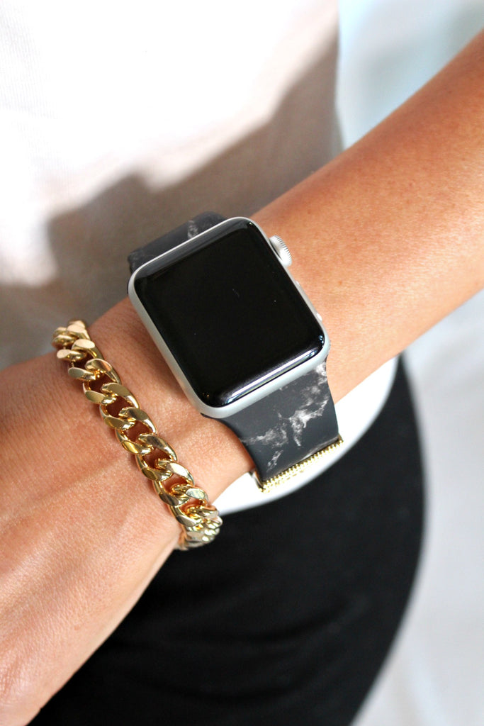 NEW!! Marble Embellished Silicon Apple Watch Band - Glitzy Bella