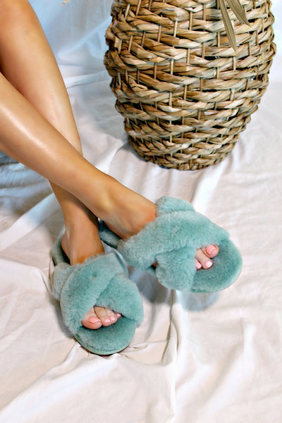 NEW COLOR! Cozette Sheepskin Slipper in Teal