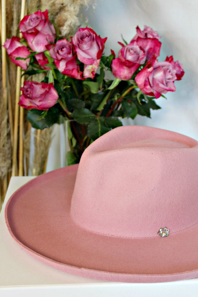 NEW! The Beverly Wool Panama Hat in Pink - Glitzy Bella