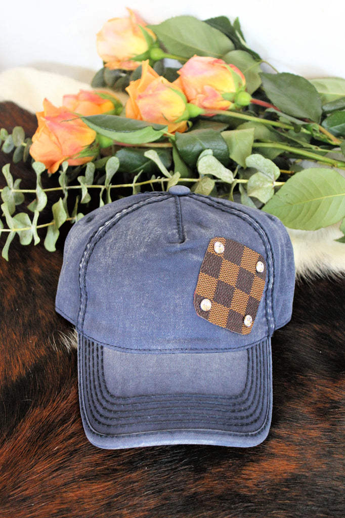 NEW!! Authentic Re-purposed LV Patch Ball Cap with Swarovski Crystals in 3 Colors