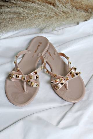 NEW!! Nude Gold Sandal w/ Bow