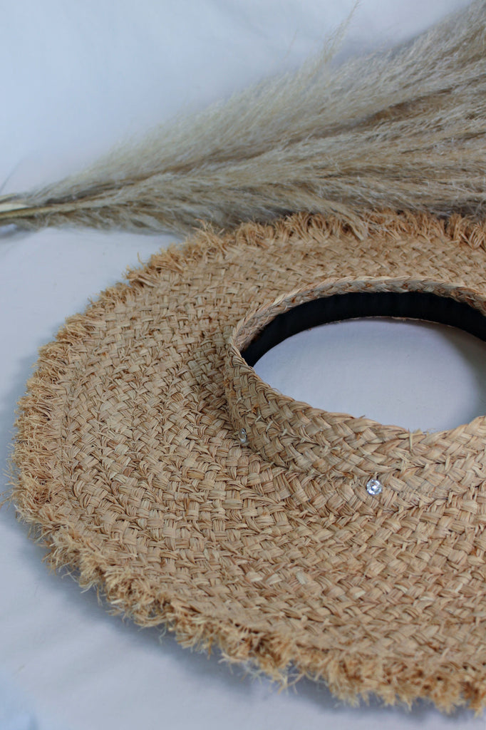 """AS SEEN ON MICHELLE from VB!"" Straw Crownless Visor"