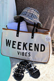 """Weekend Vibes"" Canvas Bag w/ Leather Handles"