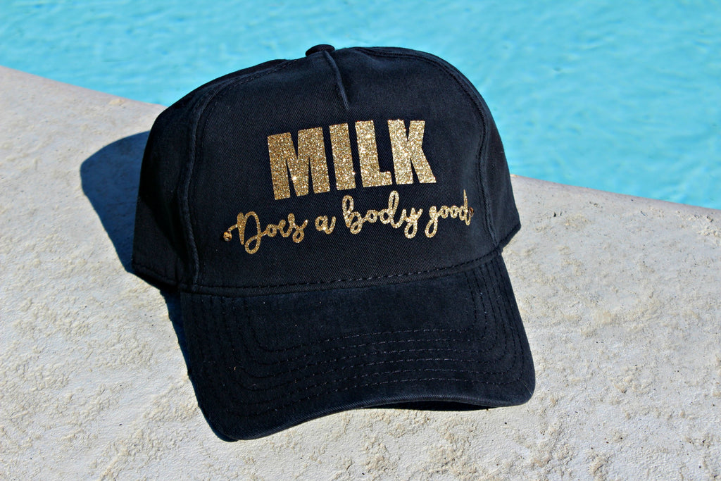 Milk Does a Body Good Glitter and Crystal Hat