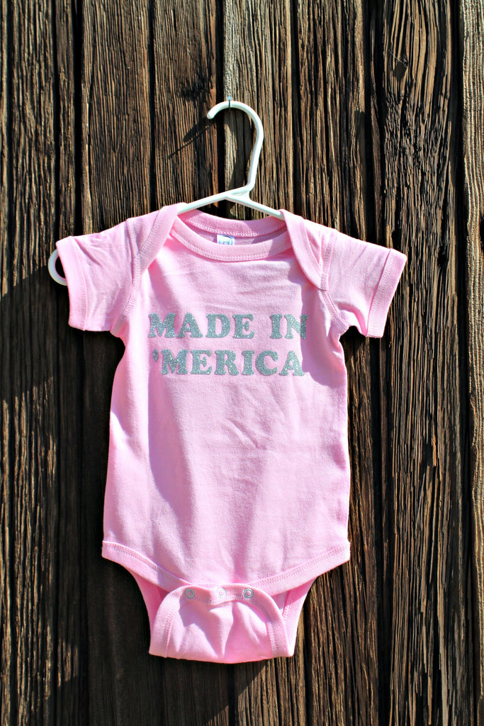 """Made in America"" Little Girls Onesie or Tee - Glitzy Bella"