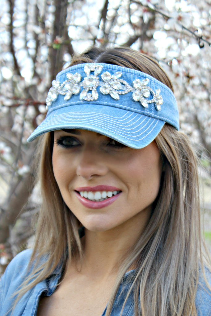 Denim and Crystal Visor