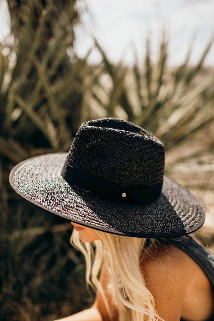 The Palm Desert Straw Panama Hat in Black