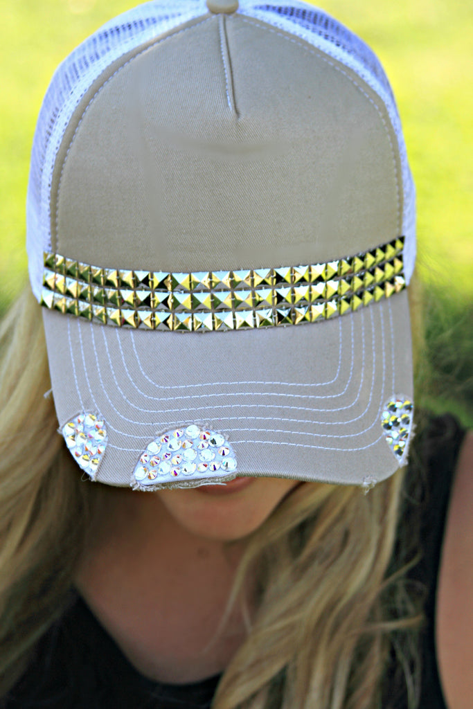 Crystal and Geometric Trucker Hat - Glitzy Bella