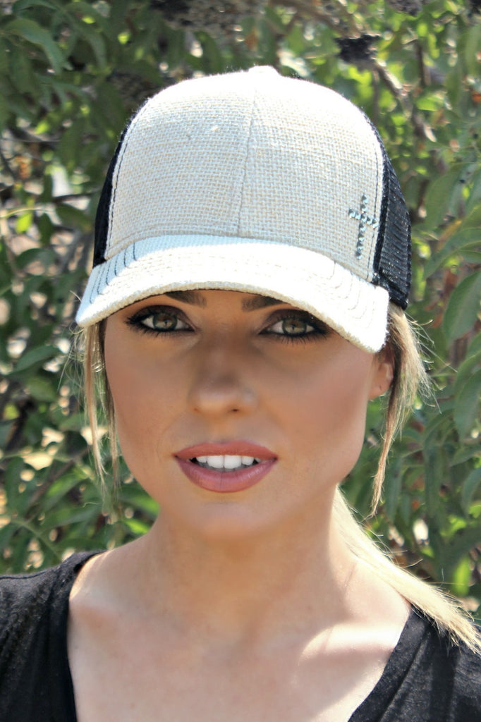 Linen and Mesh Cross Trucker Hat - Glitzy Bella