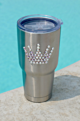 Stainless Steel 30 oz. Tru Flask Rambler w/ Crystals