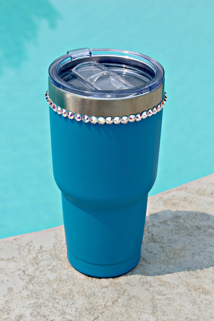 Crystallized Blue 30 oz. Tru Flask Rambler - Glitzy Bella