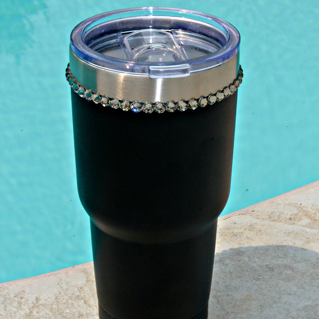 Black 30 oz. Tru Flask Rambler w/ Crystals