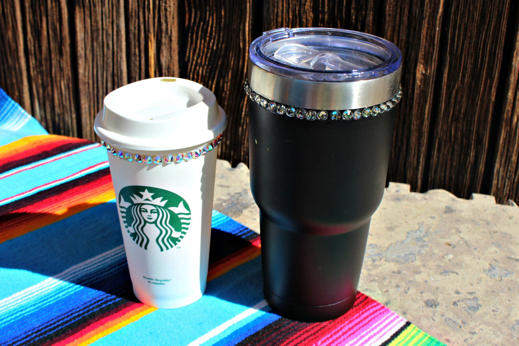 Reusable Crystallized Coffee Cup with Lid - Glitzy Bella