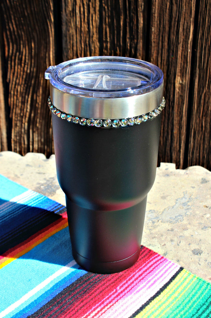 Crystallized Black 30 oz. Tru Flask Rambler